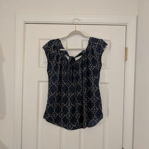 LC Lauren Conrad blue printed blouse size medium